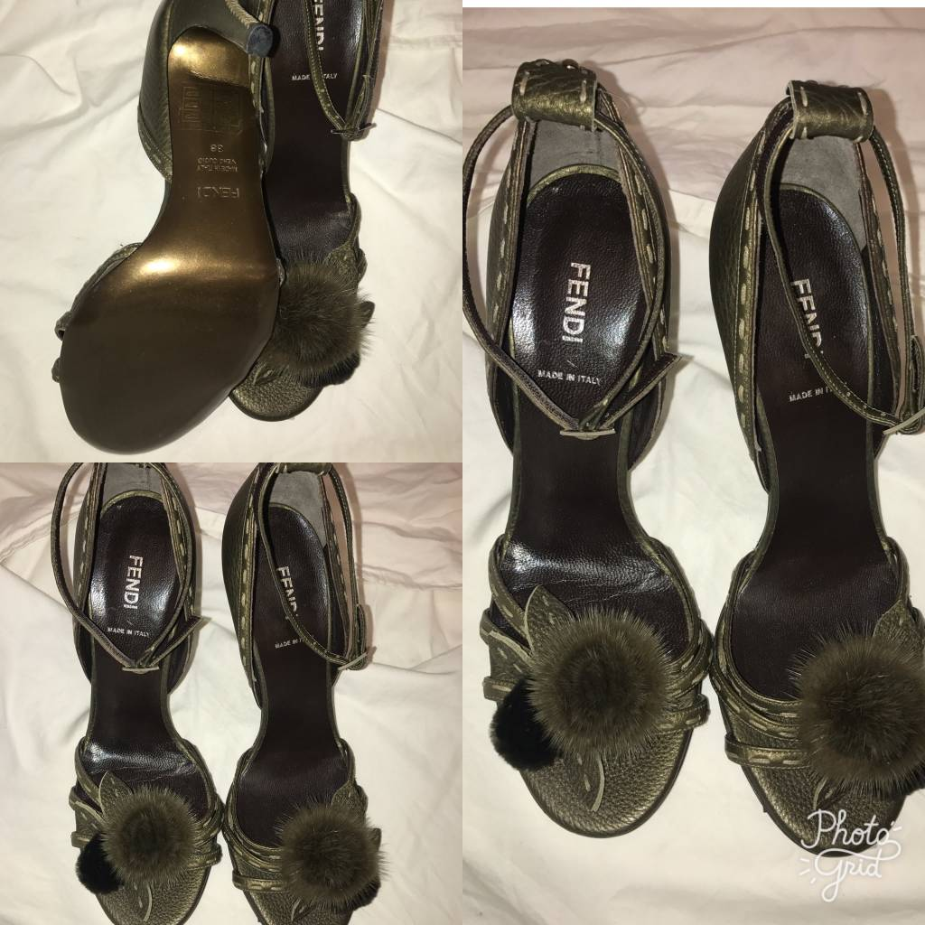 1009 Size 38 Fendi Olive Green Fur Detail Sandal
