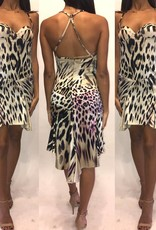 221Size 38 Roberto Cavalli Zebra Bustier Detail Silk MiniWorn