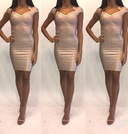 233	Size XS	 Herve Leger	Bandage Gold Metalic Mini Dress	Worn Once