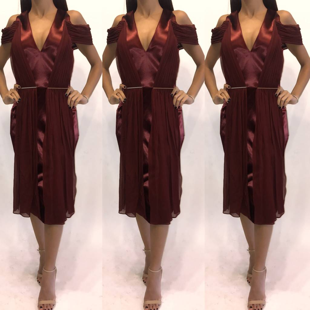 206	Size Small	Christiane Larue	Ruched Cranberry Silk Midi 	New W Tags