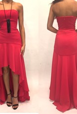 181	Size 2 BCBG Red High Lo Gown Worn Once