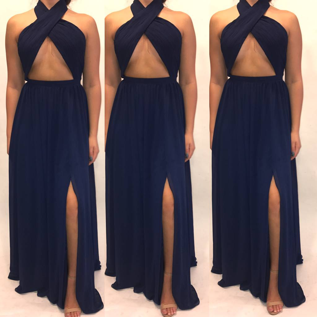 194	Size 6 Fame & Partners Navy Cut Out Maxi Worn Once
