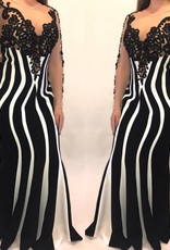 211Size 42Designer From LebanonBlack/White Paneled Gown with Sequin Detail Worn Once