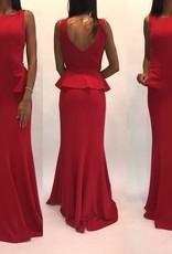 180Size 8 Badgley Mischka Red Peplum Ruffle Gown Worn Once
