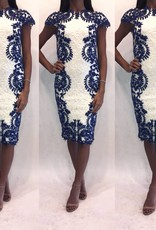 213	Size 0 Tadashi Shoji Paisley White Lace Midi Dress with Blue Floral Overlay Worn Once