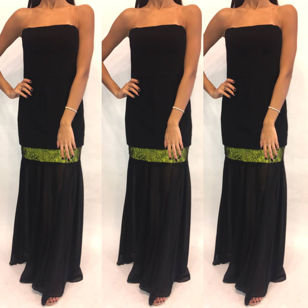 149	Size 4 BCBG Tube Dress w Chiffon and Green Detail