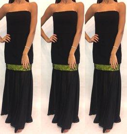 149Size 4 BCBG Tube Dress w Chiffon and Green Detail