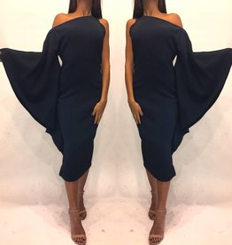 163	Size 4	Cushnie Et Ochs One Shoulder Navy Drape Dress Worn Once