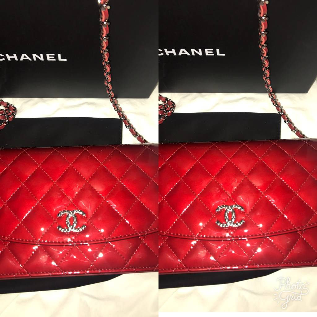 5009	Chanel	Chanel Red Patent Wallet On Chain with Silver Hardware	New In Box