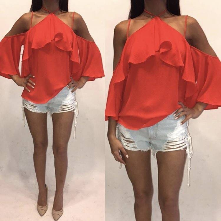 Essue LT12416 Red Open Shoulder Tie Top