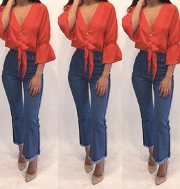Essue LT12506 Red Bell Button Crop Size Medium