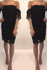 Moon Collection DSL0791 Off Shoulder Crochet Dress