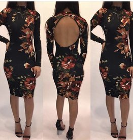 Hot and Delicious BD11923 Floral Open Back Keyhole Dress Size Medium