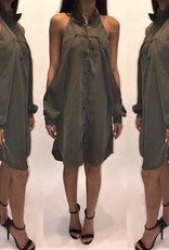 Symphony KT3124BK Cold Shoulder Button Down Dress Olive Size Large