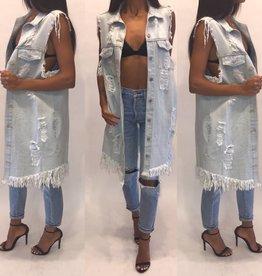 365 pts V1701 Shreaded Knee Length Light Denim Vest Size Large