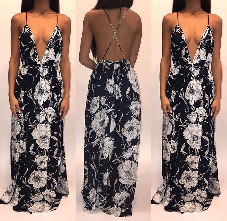 Hommage HD4286 Floral Open Back Navy Gown