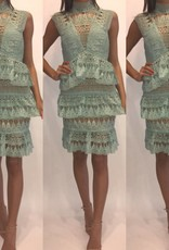 L'atiste LD6054 Mint Tassel Dress Size Medium
