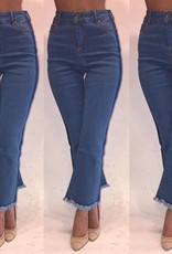 Essue LP71082 Cropped Denim Flare Pants