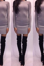 Oliveacious JT56-29 Grey Sweater Mini Dress Size Mediu