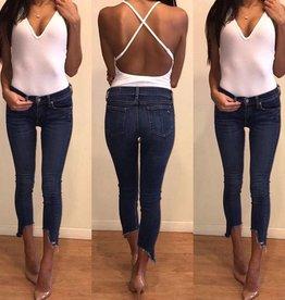 Oliveacious JS89WH Deep V Open Back Bodysuit