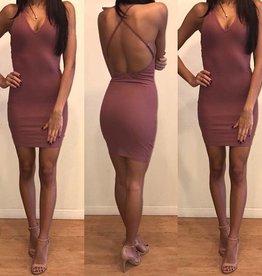 Cotton Candy D621 Simple Mini Ribbed Mauve Dress Size Large