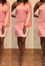 Cotton Candy CD7453 One Shoulder Salmon Slip Dress