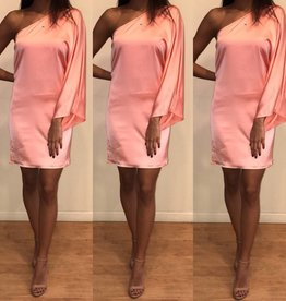 Cotton Candy CD7453 One Shoulder Salmon Slip Dress
