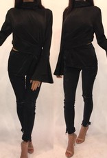 Do and Be RH14655-REBK Bell Sleeve Black Wrap Blouse