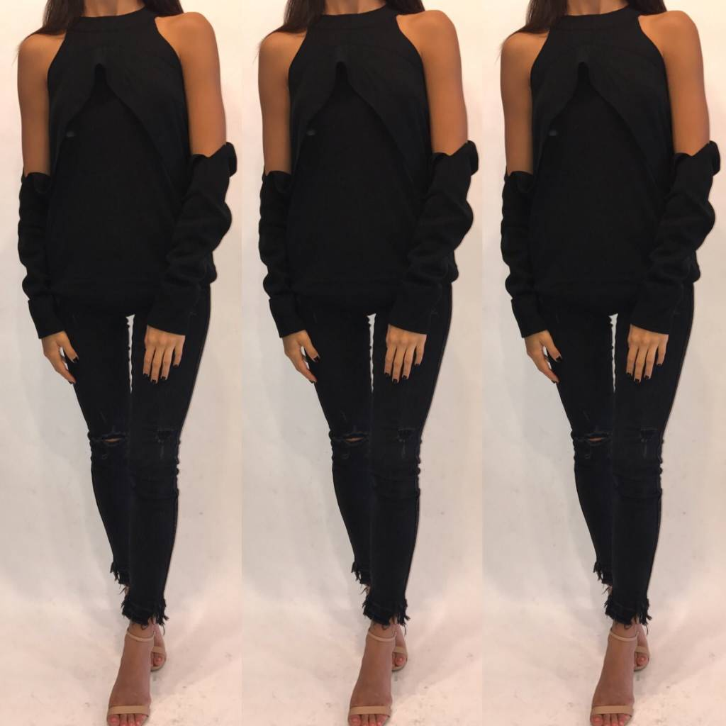 Do and Be Y13855-REBKS Cold Shoulder Black Sweater