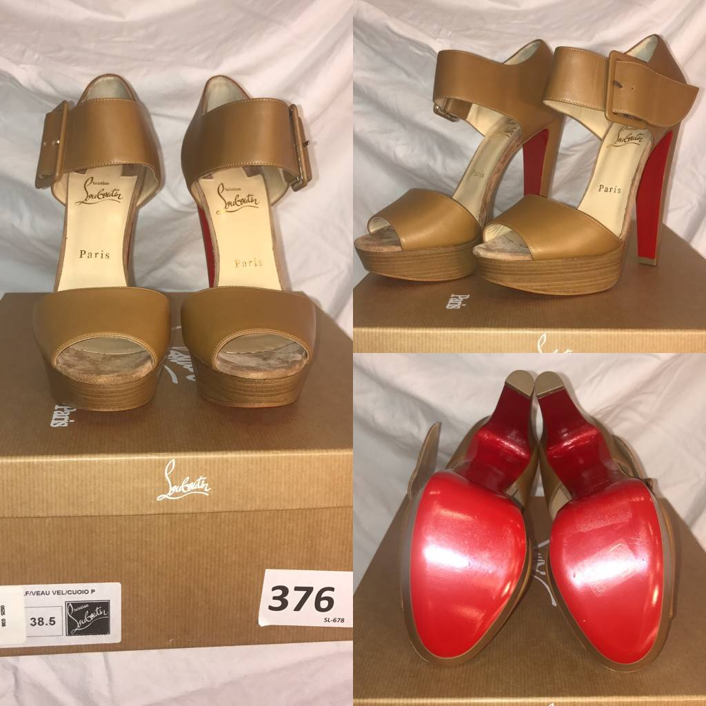 1020	Size 38 1/2	Christian Louboutin	Tan Peep Toe Ankle Strap Platform	New in Box