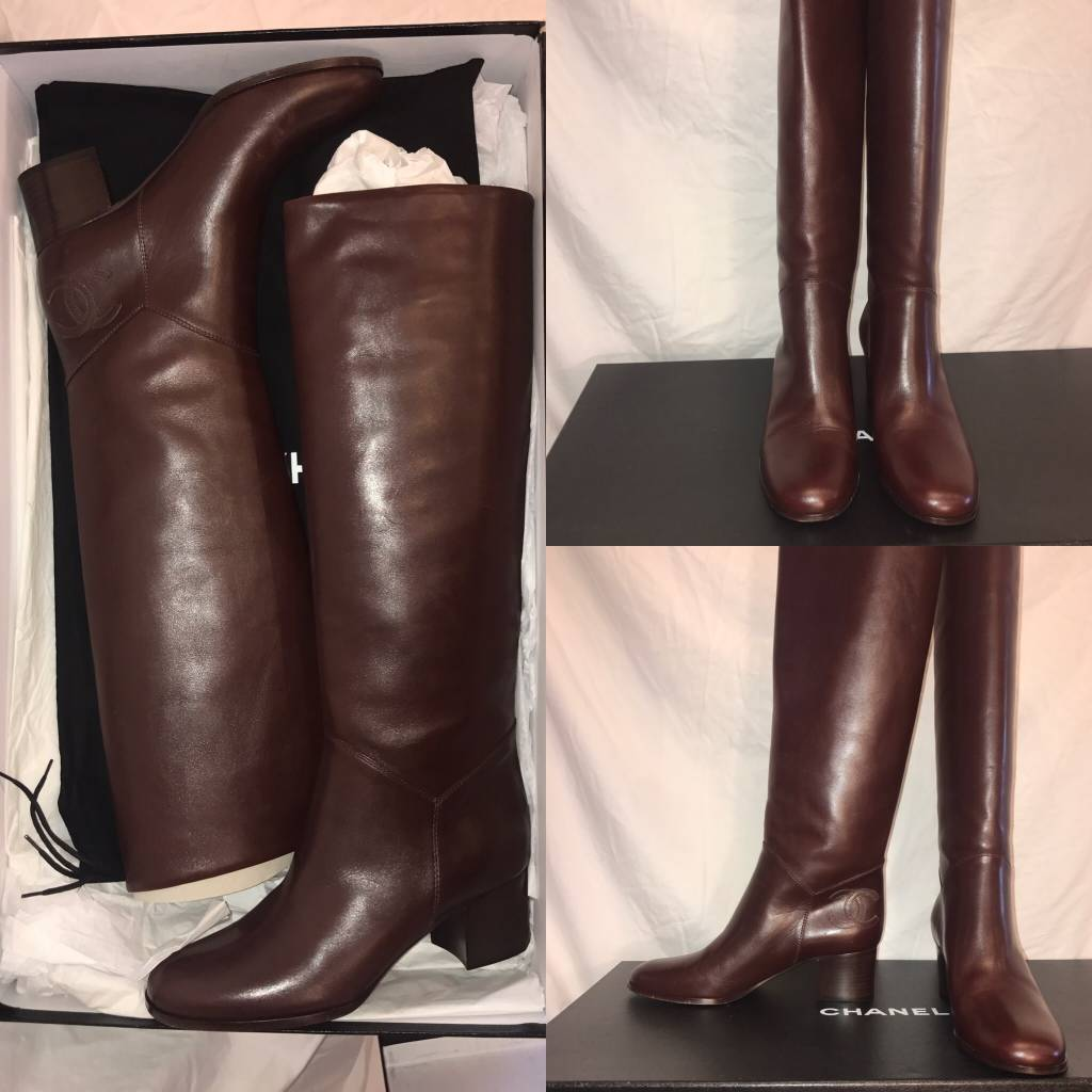 1026	Size 39	Chanel	Burgundy High Boots 	New in Box