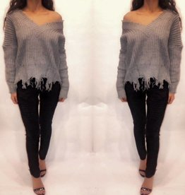 Main Strip LT3984 V Neck Heather Grey Slouch Sweater