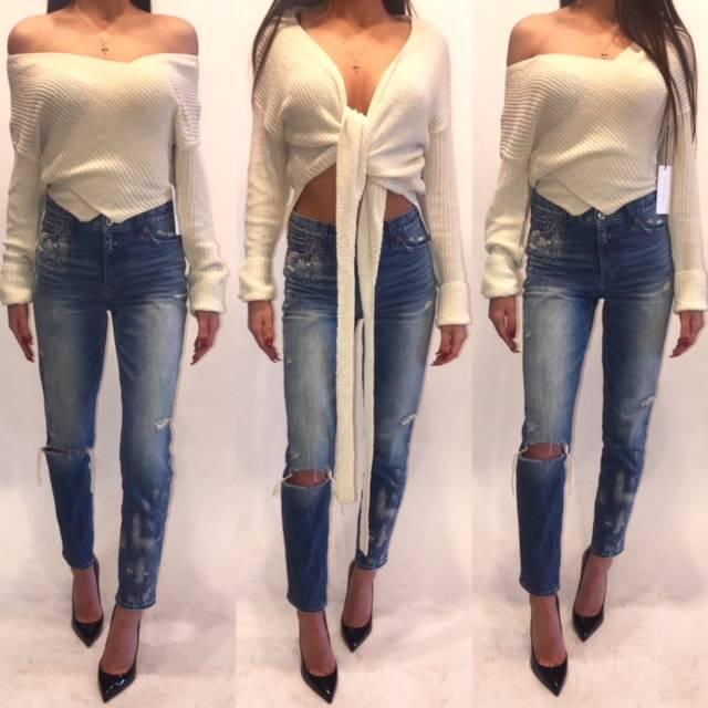 Cotton Candy LA Cream Cross Over Sweater