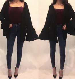 POL JST414_NW Bell Sleeve Black Sweater Cardigan