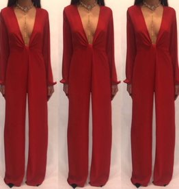 blue blush GBR1311-1 Red Twist Deep Plunge Romper