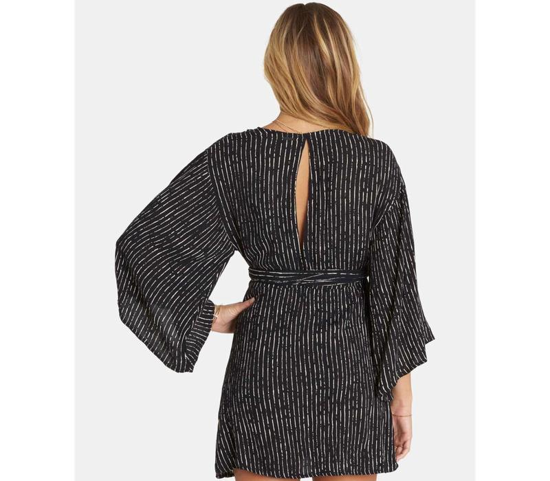 Billabong Relax On High Plunging Mini Dress Black