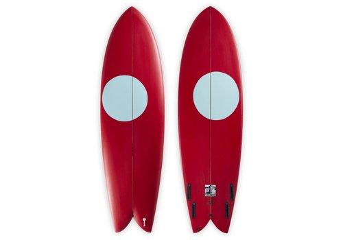 Third Coast 3rd Coast Surfboards 6'6 Warrior V6 Red/Teal Dot