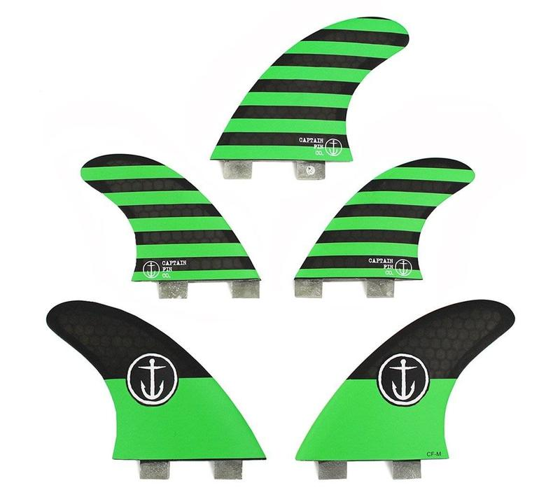 Captain Fin CF 5 Fin  Medium Twin Tab Green