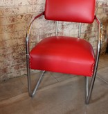 Red Leather & Chrome Chair