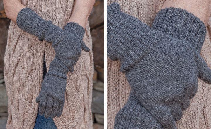 Alpaca Edwina Long Gloves, Navy