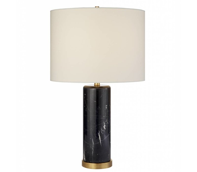 Cravet Table Lamp- Black Marble w Linen Shade