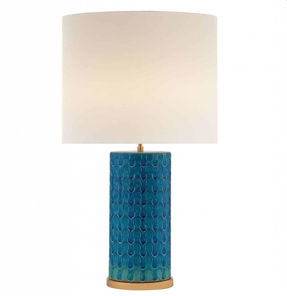Evan Table Lamp - Blue w Linen Shade