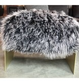 Black / White Tip Lamb Hair Gold Base Ottoman