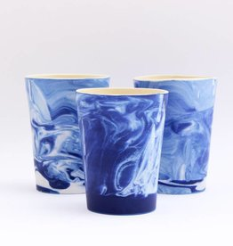 Marbled Blue Pottery Cup