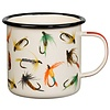 Fly-Fishing Enamel Mug, Cream