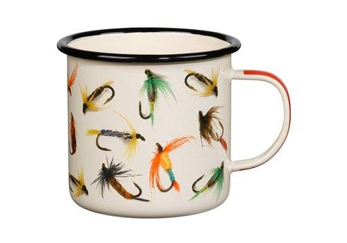 Fly-Fishing Enamel Mug, Cream