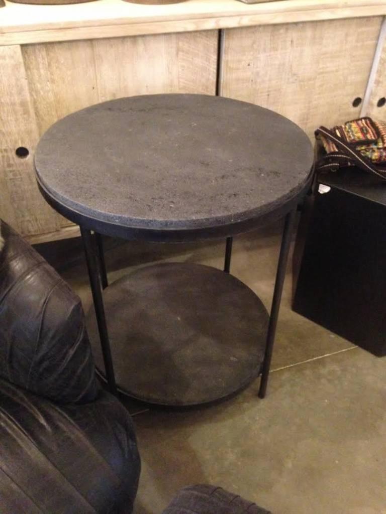 2 Level Round Black Lava Table
