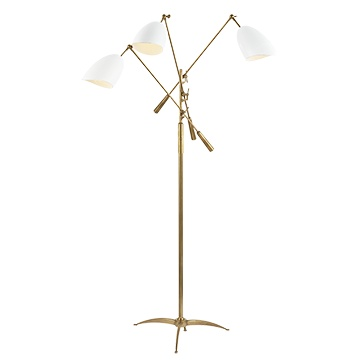 Sommerard Triple Arm Floor Lamp HR Ant Brass