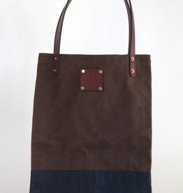 Laptop Bag: Brown Top Navy Bottom