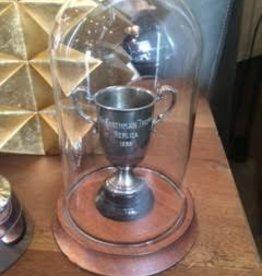 Small Glass Cloche w/Trophy